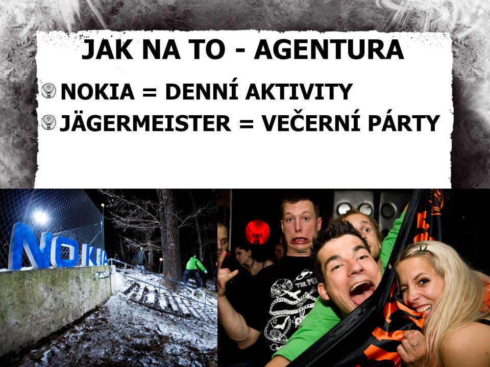 JAK NA TO - AGENTURA NOKIA = DENNÍ AKTIVITY JÄGERMEISTER = VEČERNÍ PÁRTY
