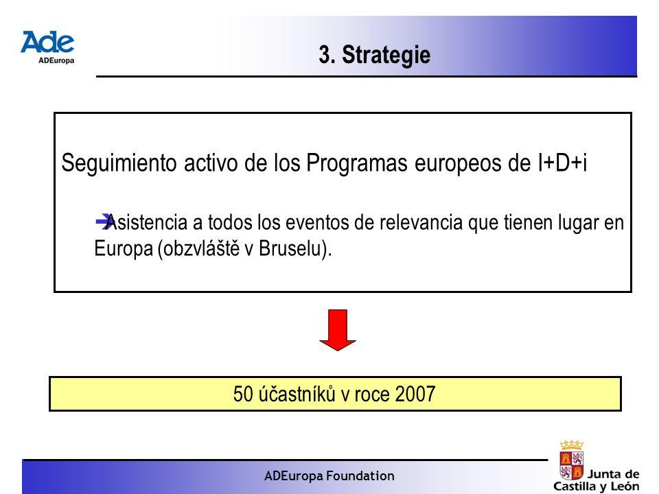 Proyecto: La foca monje ADEuropa Foundation Seguimiento activo de los Programas europeos de I+D+i  Asistencia a todos los eventos de relevancia que tienen lugar en Europa (obzvláště v Bruselu).