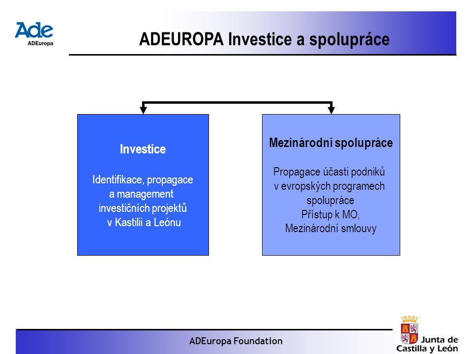 Proyecto: La foca monje ADEuropa Foundation ADEUROPA Investice a spolupráce Investice Identifikace, propagace a management investičních projektů v Kastilii a Leónu Mezinárodní spolupráce Propagace účasti podniků v evropských programech spolupráce Přístup k MO, Mezinárodní smlouvy
