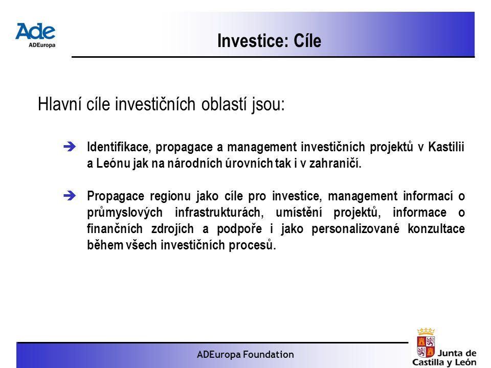 Proyecto: La foca monje ADEuropa Foundation Investice: Cíle Hlavní cíle investičních oblastí jsou:  Identifikace, propagace a management investičních projektů v Kastilii a Leónu jak na národních úrovních tak i v zahraničí.