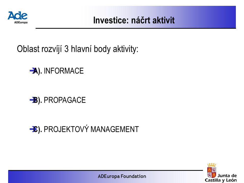 Proyecto: La foca monje ADEuropa Foundation Investice: náčrt aktivit Oblast rozvíjí 3 hlavní body aktivity:  A).