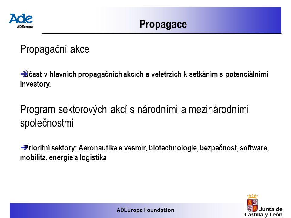 Proyecto: La foca monje ADEuropa Foundation Propagační akce  Účast v hlavních propagačních akcích a veletrzích k setkáním s potenciálními investory.