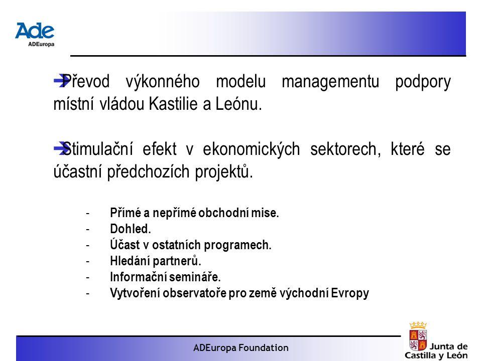 Proyecto: La foca monje ADEuropa Foundation  Převod výkonného modelu managementu podpory místní vládou Kastilie a Leónu.