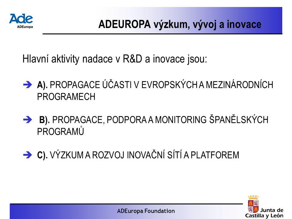 Proyecto: La foca monje ADEuropa Foundation ADEUROPA výzkum, vývoj a inovace Hlavní aktivity nadace v R&D a inovace jsou:  A).