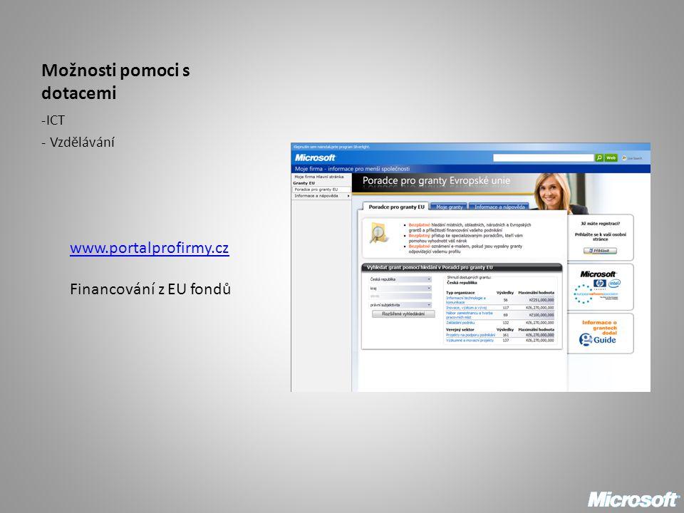 Možnosti pomoci s dotacemi -ICT - Vzdělávání www.portalprofirmy.cz Financování z EU fondů