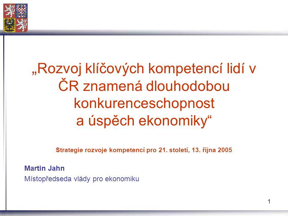 """1 """" Rozvoj klíčových kompetencí lidí v ČR znamená dlouhodobou konkurenceschopnost a úspěch ekonomiky"""" Strategie rozvoje kompetencí pro 21. století, 13"""