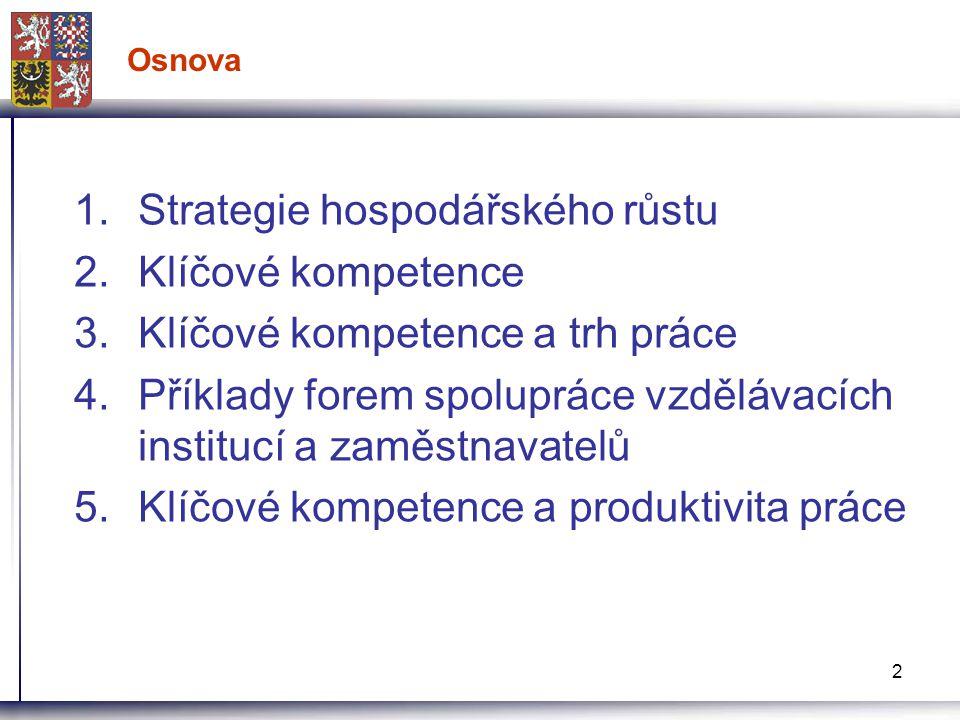 2 Osnova 1.Strategie hospodářského růstu 2.Klíčové kompetence 3.Klíčové kompetence a trh práce 4.Příklady forem spolupráce vzdělávacích institucí a zaměstnavatelů 5.Klíčové kompetence a produktivita práce