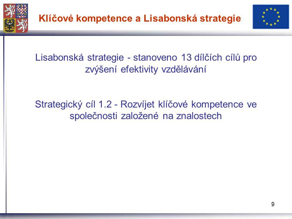 9 Klíčové kompetence a Lisabonská strategie Lisabonská strategie - stanoveno 13 dílčích cílů pro zvýšení efektivity vzdělávání Strategický cíl 1.2 - Rozvíjet klíčové kompetence ve společnosti založené na znalostech