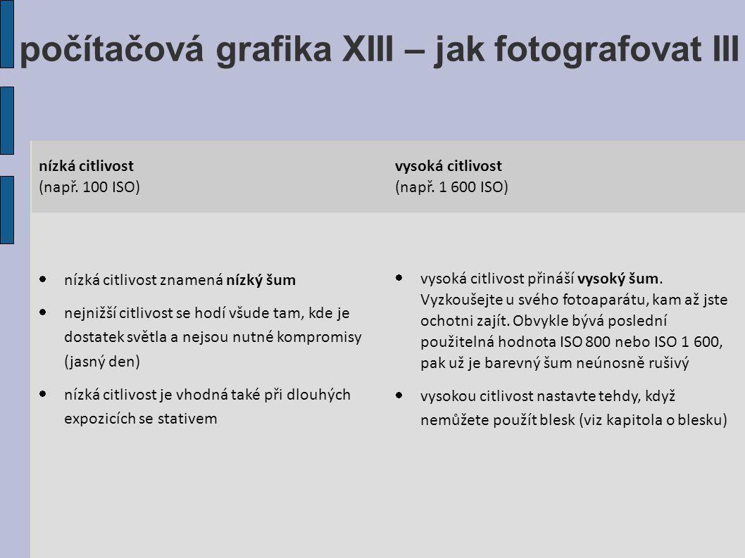 počítačová grafika XIII – jak fotografovat III nízká citlivost (např.