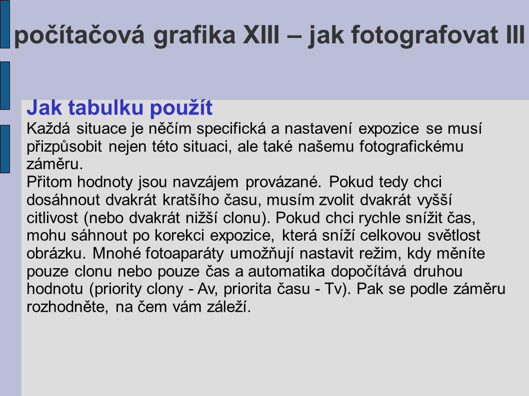 počítačová grafika XIII – jak fotografovat III Jak tabulku použít Každá situace je něčím specifická a nastavení expozice se musí přizpůsobit nejen této situaci, ale také našemu fotografickému záměru.