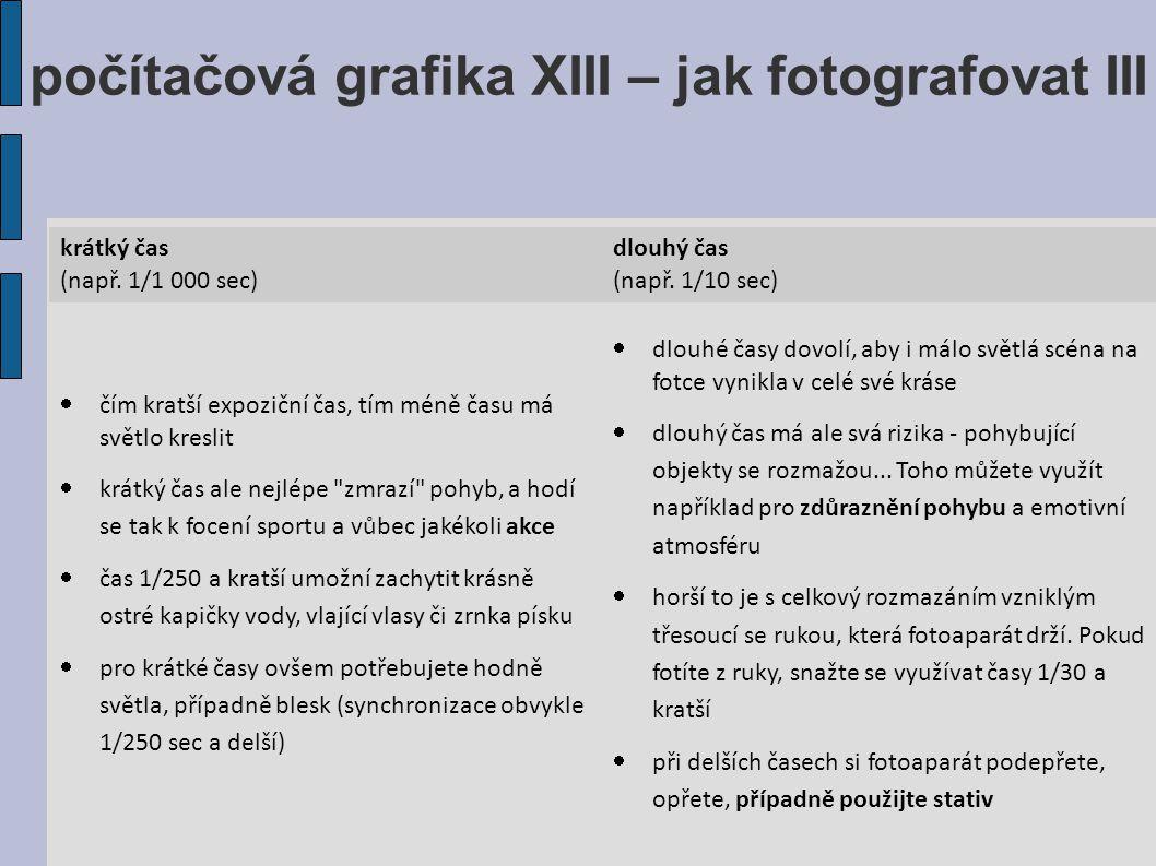 počítačová grafika XIII – jak fotografovat III krátký čas (např.