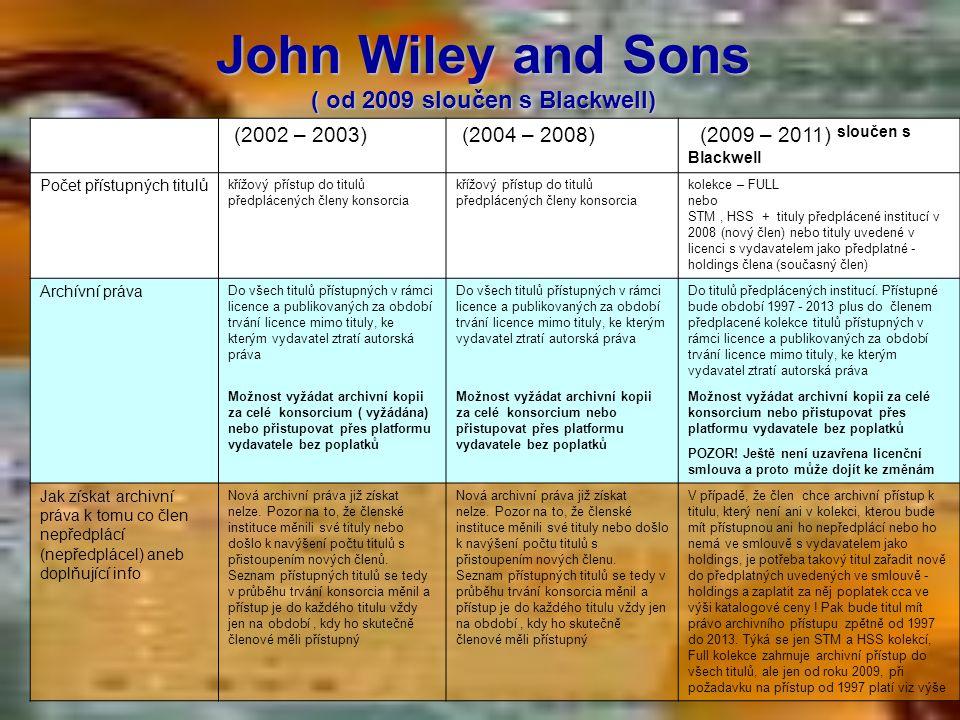 John Wiley and Sons ( od 2009 sloučen s Blackwell) (2002 – 2003) (2004 – 2008) (2009 – 2011) sloučen s Blackwell Počet přístupných titulů křížový přís