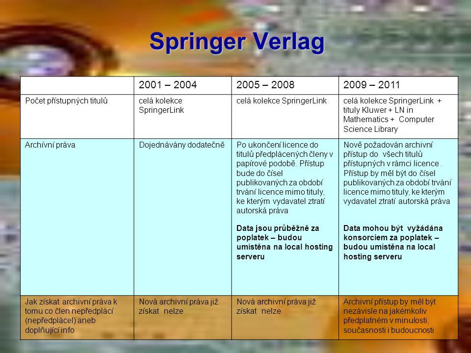 Springer Verlag 2001 – 20042005 – 20082009 – 2011 Počet přístupných titulůcelá kolekce SpringerLink celá kolekce SpringerLink + tituly Kluwer + LN in