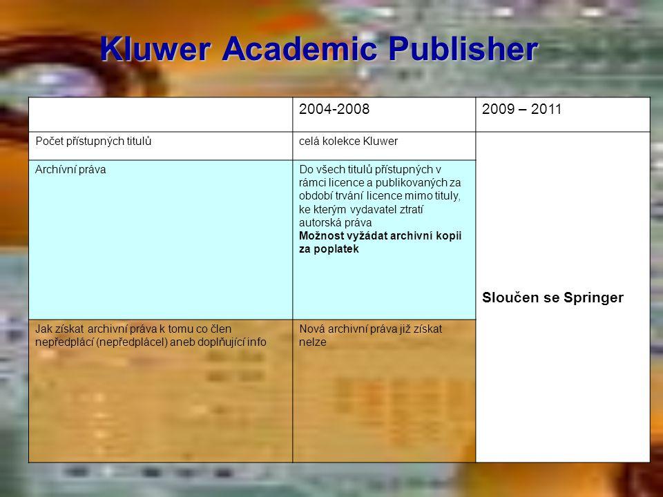 Kluwer Academic Publisher 2004-20082009 – 2011 Počet přístupných titulůcelá kolekce Kluwer Sloučen se Springer Archívní právaDo všech titulů přístupný
