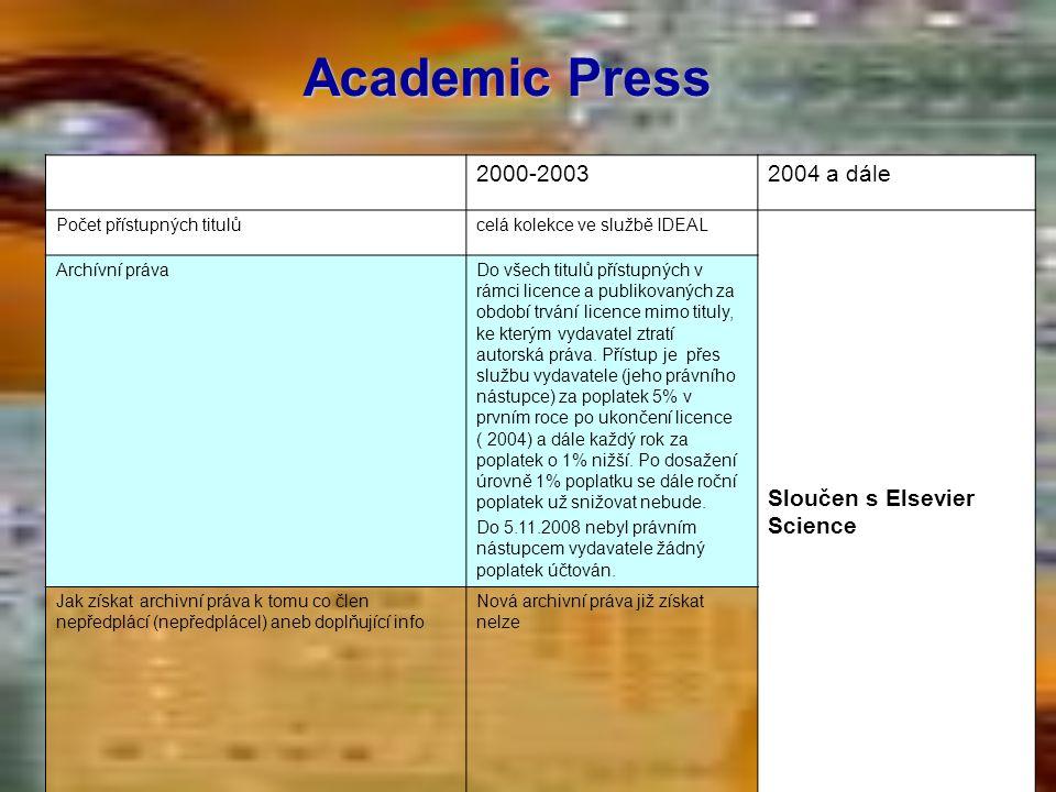Academic Press 2000-20032004 a dále Počet přístupných titulůcelá kolekce ve službě IDEAL Sloučen s Elsevier Science Archívní právaDo všech titulů přís