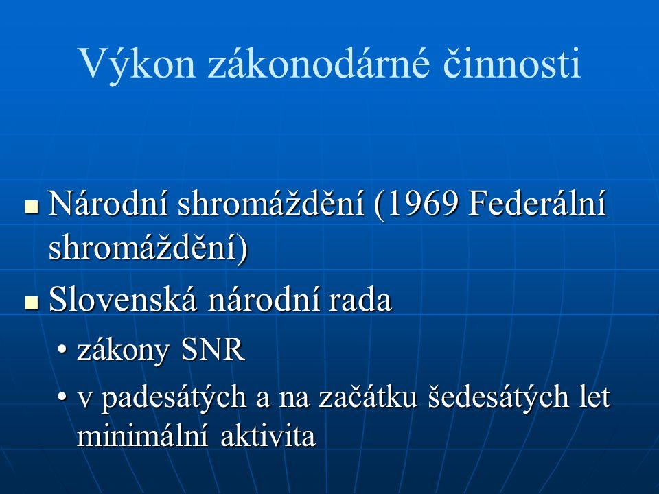 Výkon zákonodárné činnosti Národní shromáždění (1969 Federální shromáždění) Národní shromáždění (1969 Federální shromáždění) Slovenská národní rada Slovenská národní rada zákony SNRzákony SNR v padesátých a na začátku šedesátých let minimální aktivitav padesátých a na začátku šedesátých let minimální aktivita