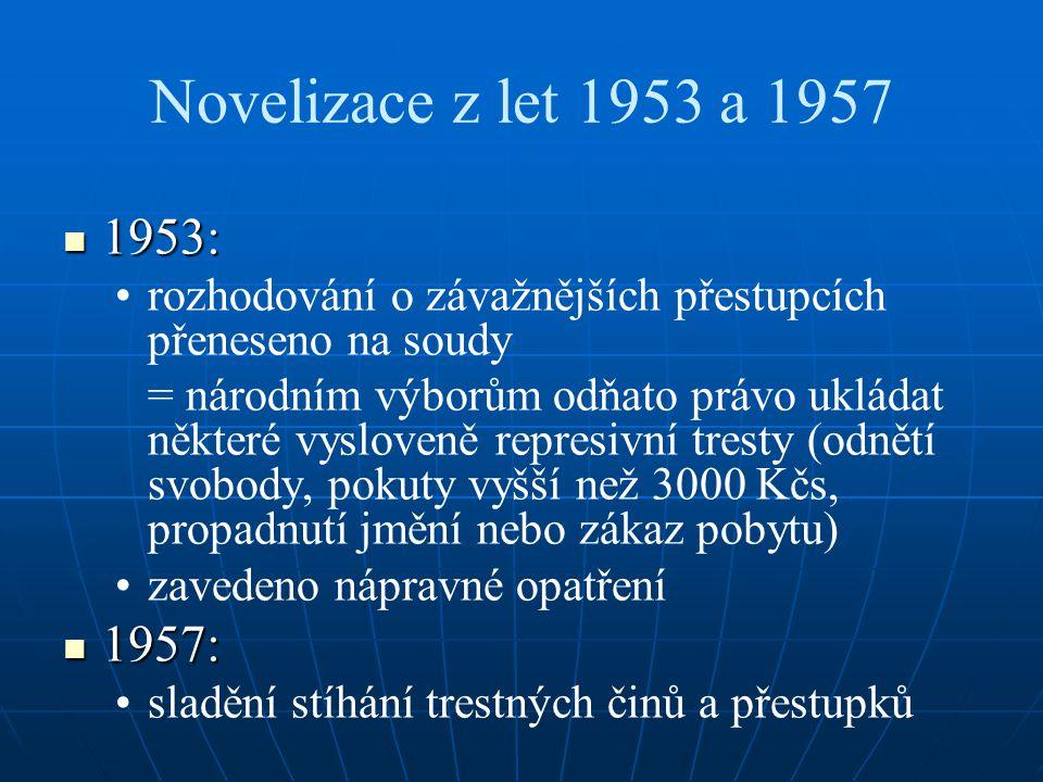 Novelizace z let 1953 a 1957 1953: 1953: rozhodování o závažnějších přestupcích přeneseno na soudy = národním výborům odňato právo ukládat některé vysloveně represivní tresty (odnětí svobody, pokuty vyšší než 3000 Kčs, propadnutí jmění nebo zákaz pobytu) zavedeno nápravné opatření 1957: 1957: sladění stíhání trestných činů a přestupků