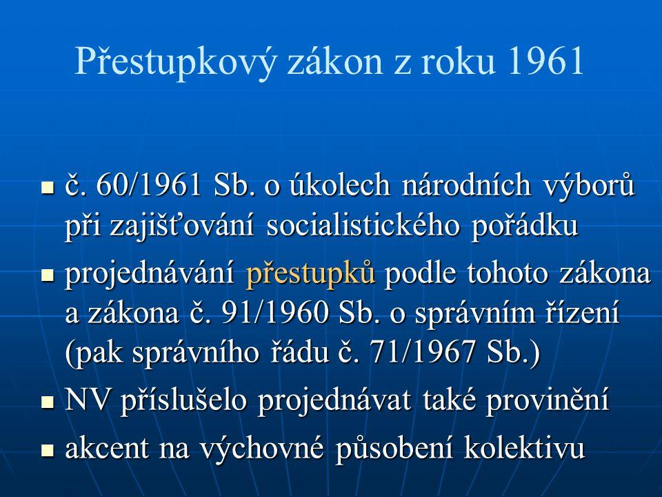 Přestupkový zákon z roku 1961 č. 60/1961 Sb.