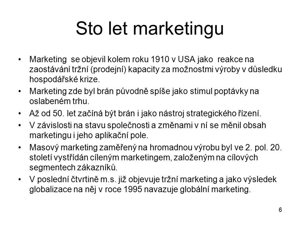 6 Sto let marketingu Marketing se objevil kolem roku 1910 v USA jako reakce na zaostávání tržní (prodejní) kapacity za možnostmi výroby v důsledku hospodářské krize.