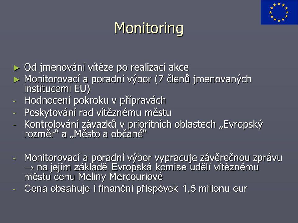 """Monitoring ► Od jmenování vítěze po realizaci akce ► Monitorovací a poradní výbor (7 členů jmenovaných institucemi EU) - Hodnocení pokroku v přípravách - Poskytování rad vítěznému městu - Kontrolování závazků v prioritních oblastech """"Evropský rozměr a """"Město a občané - Monitorovací a poradní výbor vypracuje závěrečnou zprávu → na jejím základě Evropská komise udělí vítěznému městu cenu Meliny Mercouriové - Cena obsahuje i finanční příspěvek 1,5 milionu eur"""