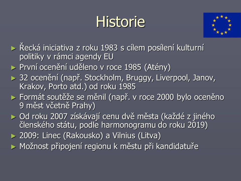 Historie ► Řecká iniciativa z roku 1983 s cílem posílení kulturní politiky v rámci agendy EU ► První ocenění uděleno v roce 1985 (Atény) ► 32 ocenění (např.