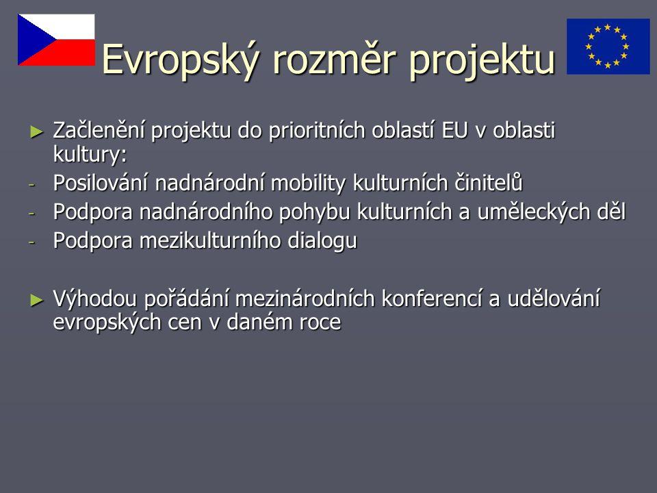 Evropský rozměr projektu ► Začlenění projektu do prioritních oblastí EU v oblasti kultury: - Posilování nadnárodní mobility kulturních činitelů - Podpora nadnárodního pohybu kulturních a uměleckých děl - Podpora mezikulturního dialogu ► Výhodou pořádání mezinárodních konferencí a udělování evropských cen v daném roce