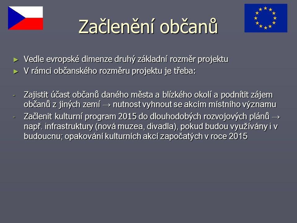 Začlenění občanů ► Vedle evropské dimenze druhý základní rozměr projektu ► V rámci občanského rozměru projektu je třeba: - Zajistit účast občanů danéh