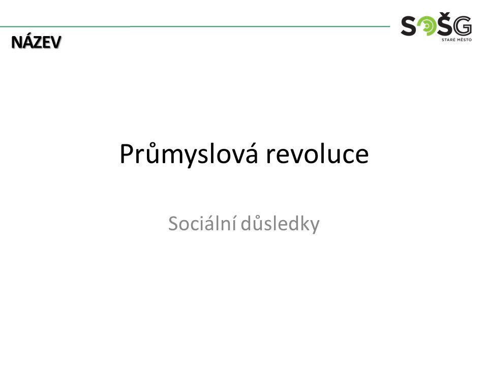 NÁZEV Průmyslová revoluce Sociální důsledky