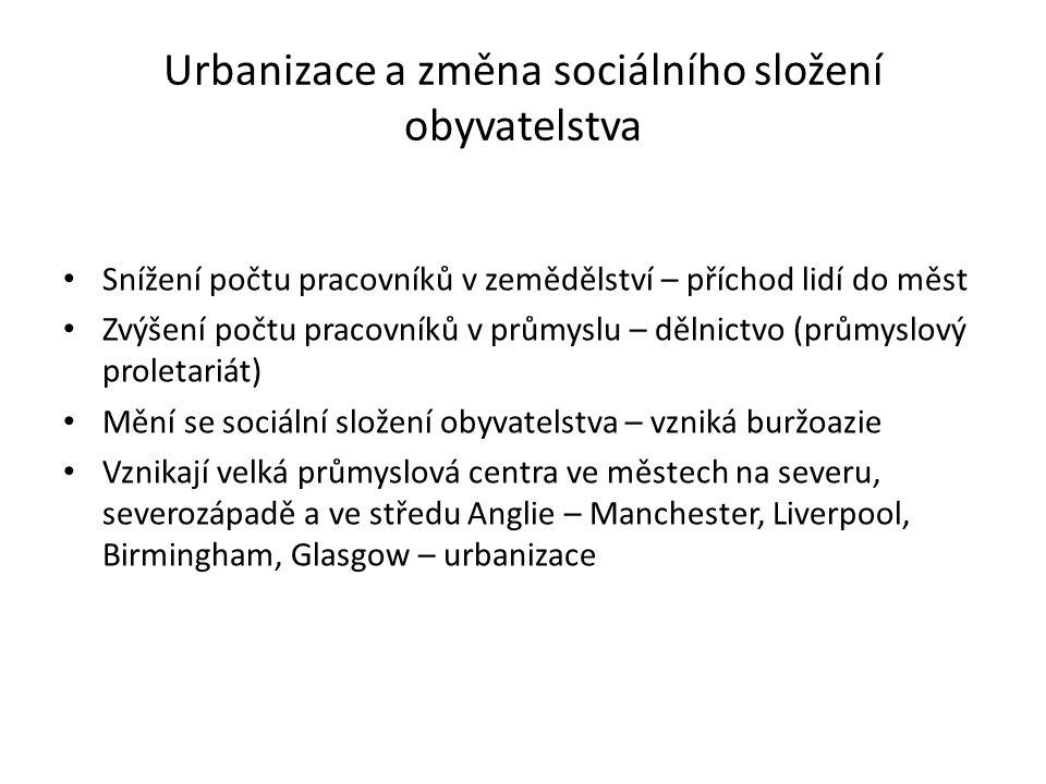 Urbanizace a změna sociálního složení obyvatelstva Snížení počtu pracovníků v zemědělství – příchod lidí do měst Zvýšení počtu pracovníků v průmyslu –