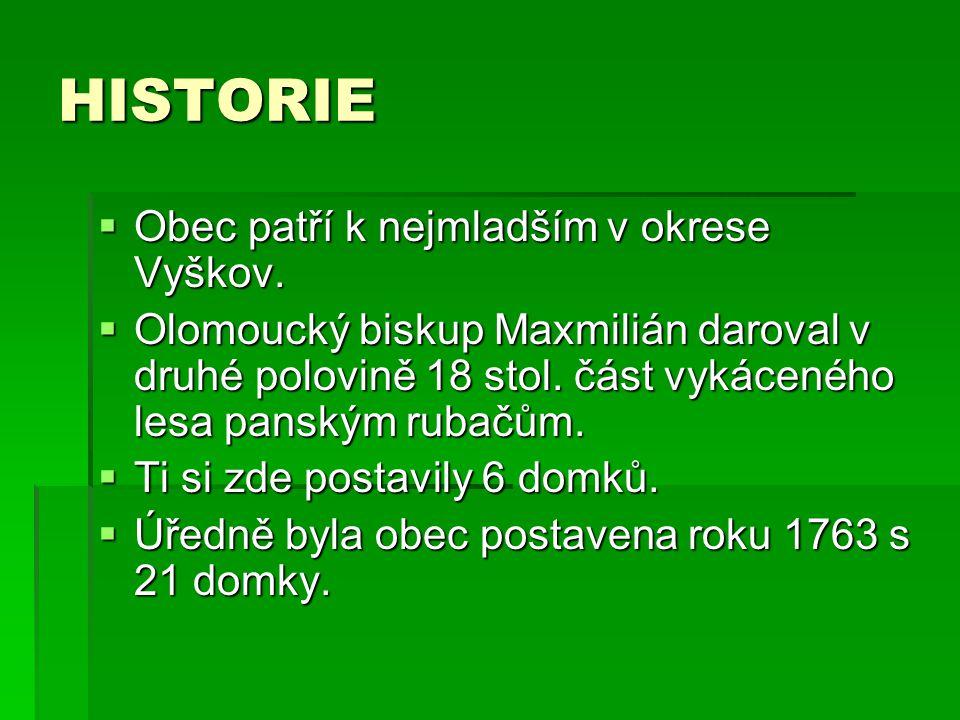 HISTORIE  Obec patří k nejmladším v okrese Vyškov.  Olomoucký biskup Maxmilián daroval v druhé polovině 18 stol. část vykáceného lesa panským rubačů