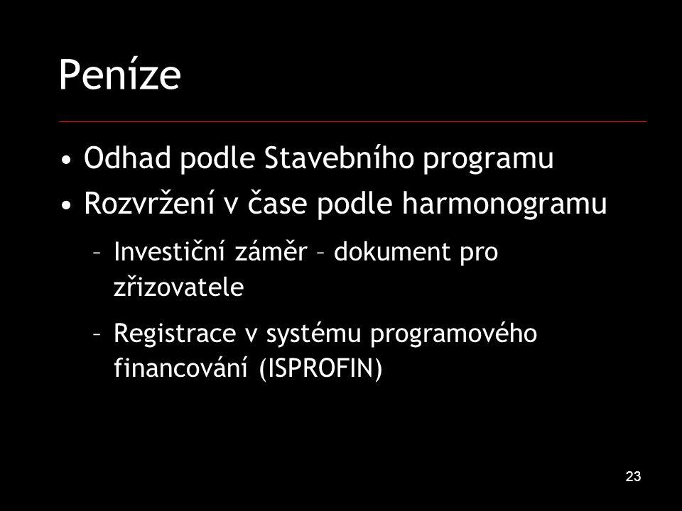 23 Peníze Odhad podle Stavebního programu Rozvržení v čase podle harmonogramu –Investiční záměr – dokument pro zřizovatele –Registrace v systému programového financování (ISPROFIN)