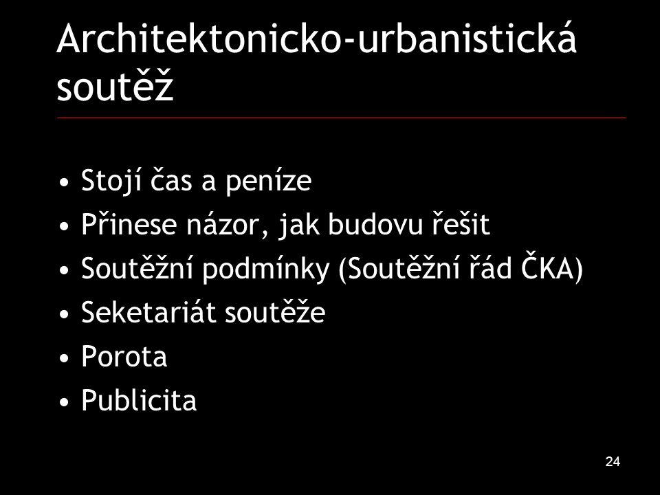 24 Architektonicko-urbanistická soutěž Stojí čas a peníze Přinese názor, jak budovu řešit Soutěžní podmínky (Soutěžní řád ČKA) Seketariát soutěže Porota Publicita