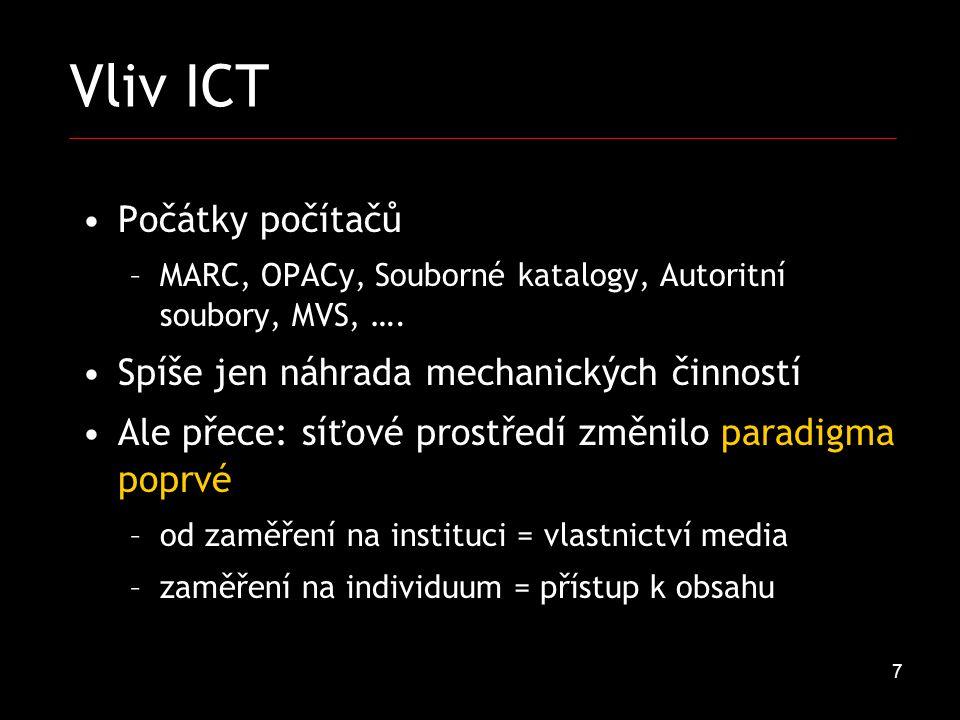 7 Vliv ICT Počátky počítačů –MARC, OPACy, Souborné katalogy, Autoritní soubory, MVS, ….