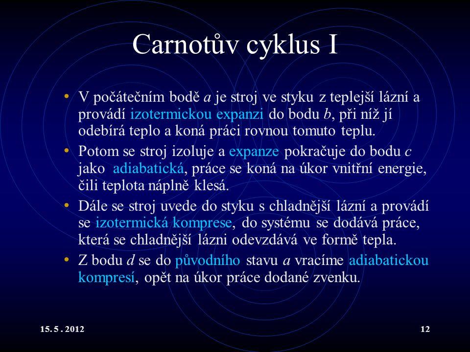 15. 5. 201212 Carnotův cyklus I V počátečním bodě a je stroj ve styku z teplejší lázní a provádí izotermickou expanzi do bodu b, při níž jí odebírá te