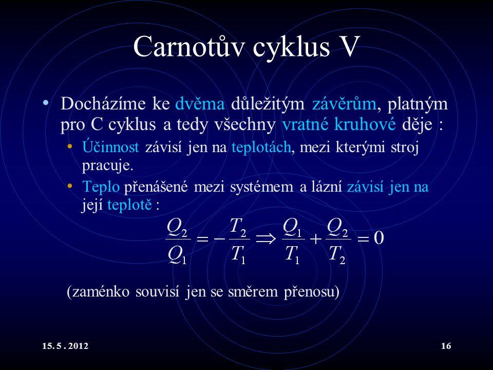 15. 5. 201216 Carnotův cyklus V Docházíme ke dvěma důležitým závěrům, platným pro C cyklus a tedy všechny vratné kruhové děje : Účinnost závisí jen na