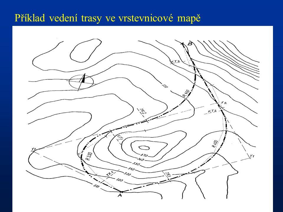 Příklad vedení trasy ve vrstevnicové mapě