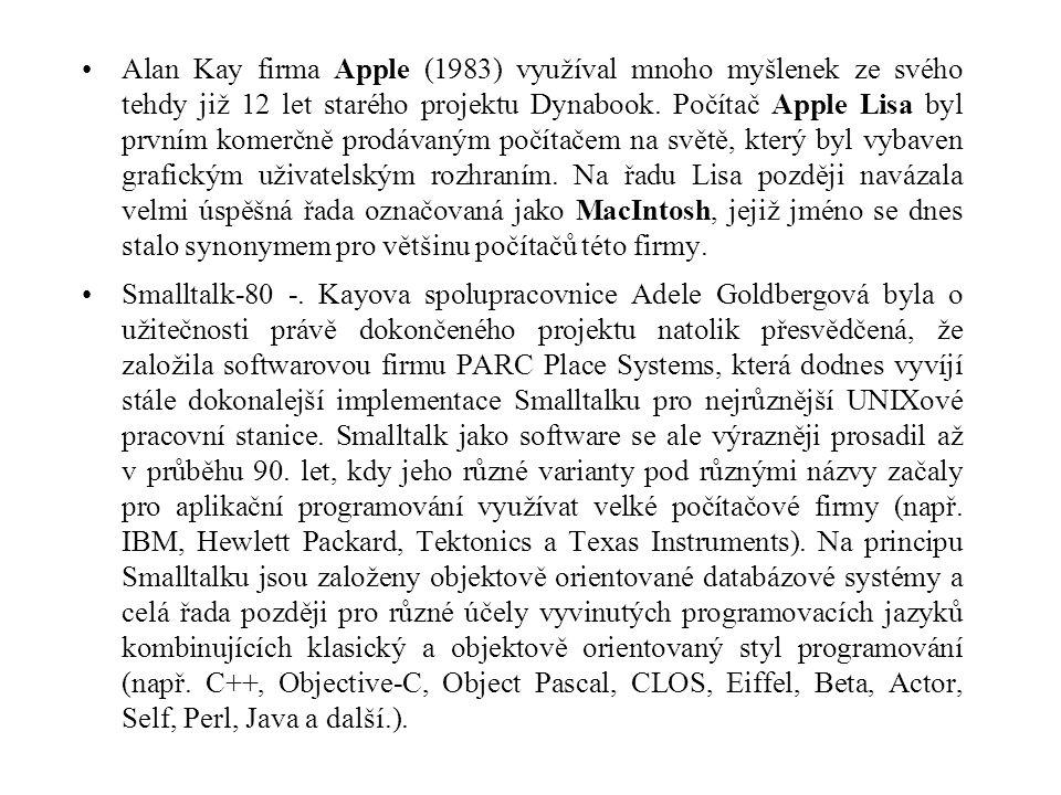 Alan Kay firma Apple (1983) využíval mnoho myšlenek ze svého tehdy již 12 let starého projektu Dynabook. Počítač Apple Lisa byl prvním komerčně prodáv
