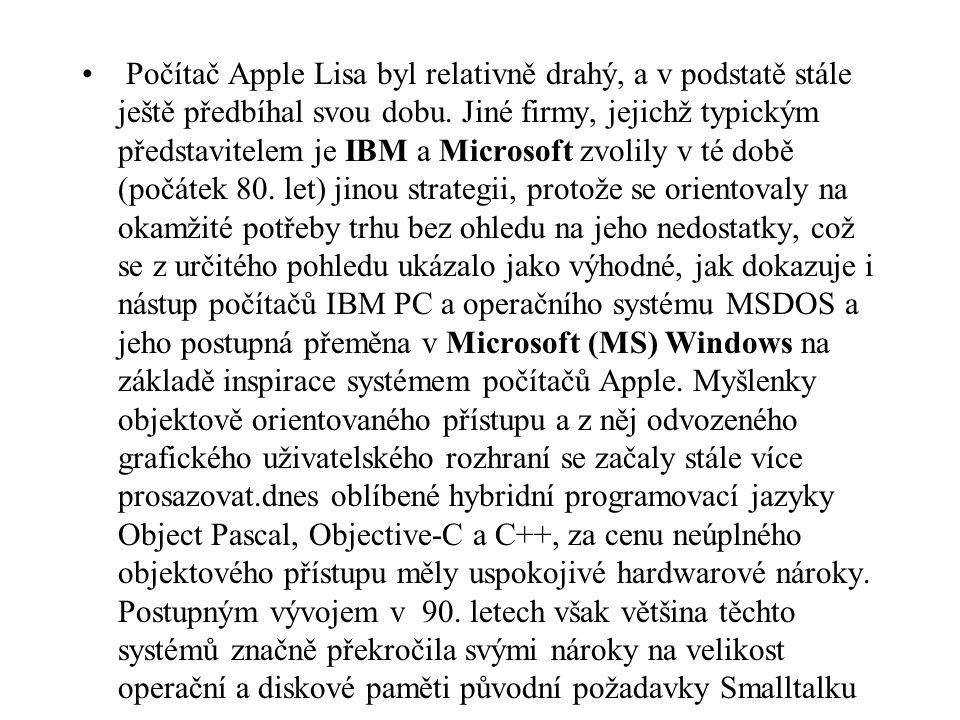 Počítač Apple Lisa byl relativně drahý, a v podstatě stále ještě předbíhal svou dobu. Jiné firmy, jejichž typickým představitelem je IBM a Microsoft z