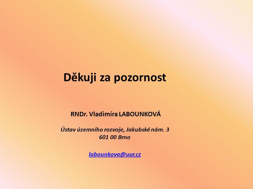 Děkuji za pozornost RNDr.Vladimíra LABOUNKOVÁ Ústav územního rozvoje, Jakubské nám.