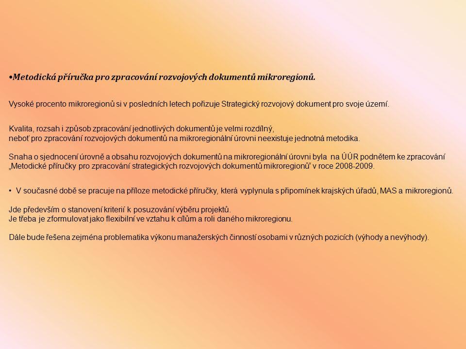 Spolupráce ÚÚR s krajskými úřady na problematice mikroregionů Ve snaze o navázání dobré spolupráce s jednotlivými krajskými úřady a jejich prostřednictvím rovněž s jednotlivými mikroregiony je od roku 2007 zorganizován na ÚÚR jednou ročně seminář k problematice mikroregionů pro zástupce krajských úřadů jednotlivých krajů ČR.