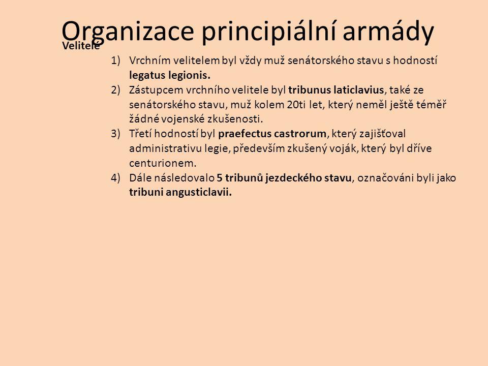 Organizace principiální armády Velitelé 1)Vrchním velitelem byl vždy muž senátorského stavu s hodností legatus legionis. 2)Zástupcem vrchního velitele