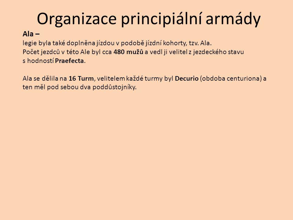 Organizace principiální armády Ala – legie byla také doplněna jízdou v podobě jízdní kohorty, tzv. Ala. Počet jezdců v této Ale byl cca 480 mužů a ved