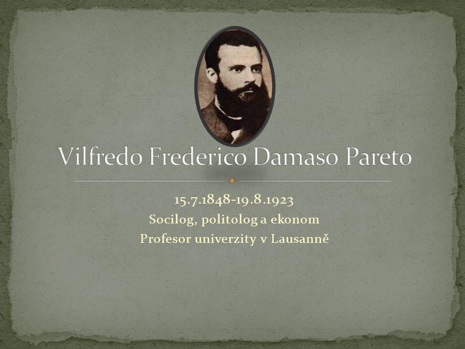 15.7.1848-19.8.1923 Socilog, politolog a ekonom Profesor univerzity v Lausanně