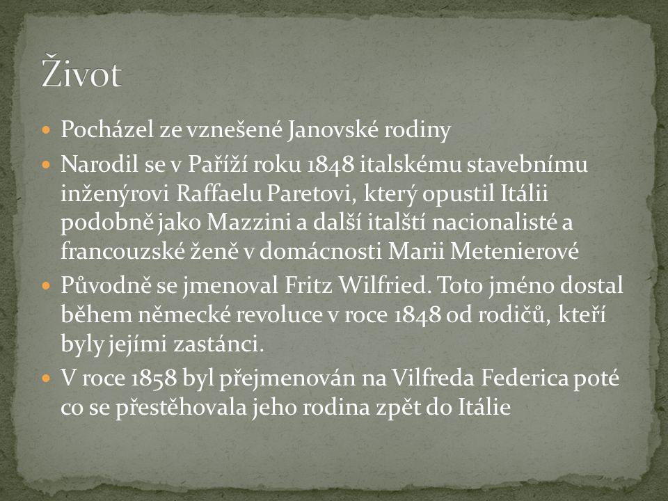 Pocházel ze vznešené Janovské rodiny Narodil se v Paříží roku 1848 italskému stavebnímu inženýrovi Raffaelu Paretovi, který opustil Itálii podobně jako Mazzini a další italští nacionalisté a francouzské ženě v domácnosti Marii Metenierové Původně se jmenoval Fritz Wilfried.