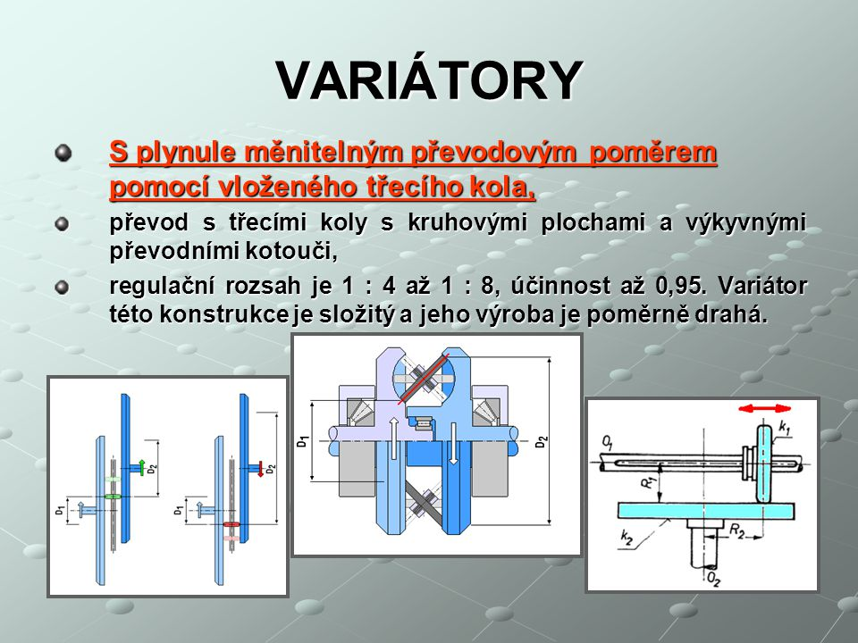 VARIÁTORY S plynule měnitelným převodovým poměrem pomocí vloženého třecího kola, převod s třecími koly s kruhovými plochami a výkyvnými převodními kot