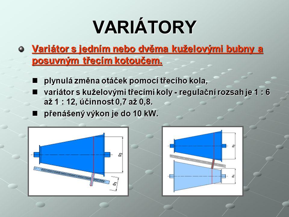 VARIÁTORY – materiály mají-li se třecími převody přenášet malé obvodové síly, použijeme kotouče kovové, např.