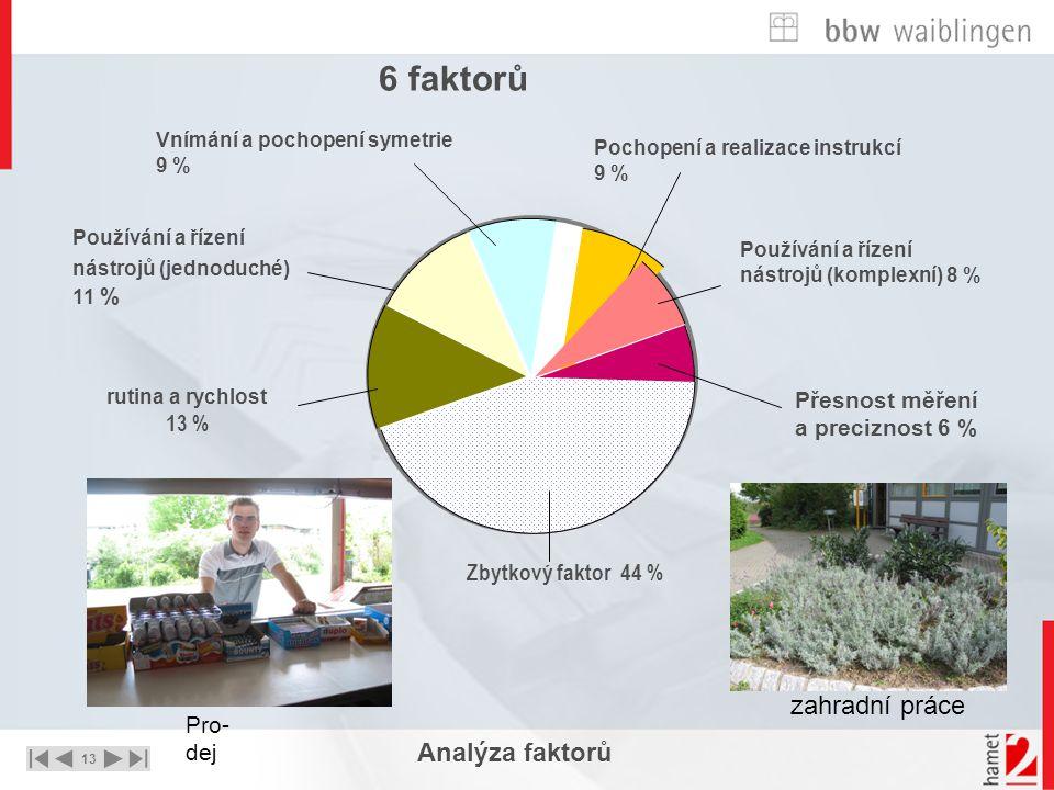 13 UNTERNEHMEN – STRATEGIE - LÖSUNGEN Analýza faktorů rutina a rychlost 13 % Používání a řízení nástrojů (jednoduché) 11 % Vnímání a pochopení symetri