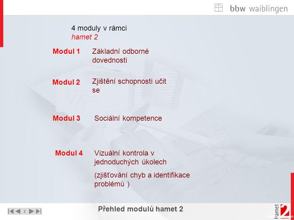 2 UNTERNEHMEN – STRATEGIE - LÖSUNGEN  bbw waiblingen Modul 1 Modul 4 Modul 3 Modul 2 Přehled modulů hamet 2 4 moduly v rámci hamet 2 Základní odborné