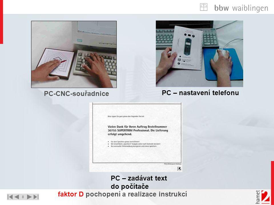8 UNTERNEHMEN – STRATEGIE - LÖSUNGEN PC-CNC-souřadnice PC – nastavení telefonu PC – zadávat text do počítače faktor D pochopení a realizace instrukcí