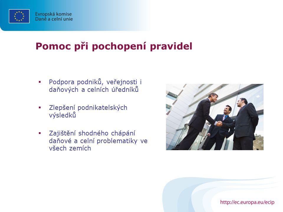 Pomoc při pochopení pravidel  Podpora podniků, veřejnosti i daňových a celních úředníků  Zlepšení podnikatelských výsledků  Zajištění shodného cháp